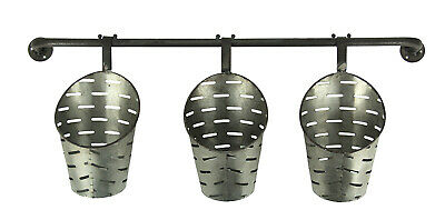 Galvanized Finish 3 Piece Olive Bucket Wall Mounted Planter Set