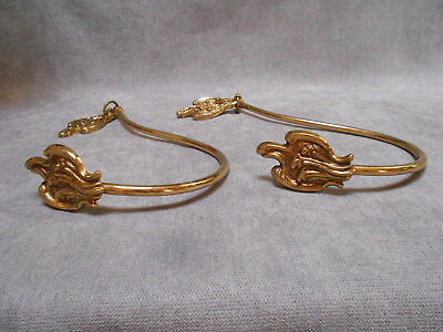 Pair of French VINTAGE Bronze & Brass Curtain TIEBACKS