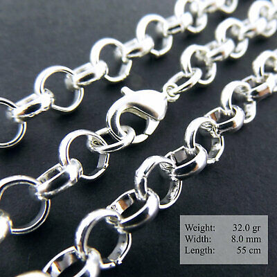 """925 Sterling Silver Necklace Chain S/F Mens Women Ladies Solid Belcher Link 28"""""""