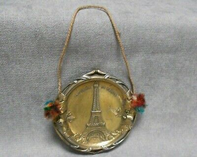 French Antique metal gilded Wall Decorative plaque  on TOUR EIFFEL