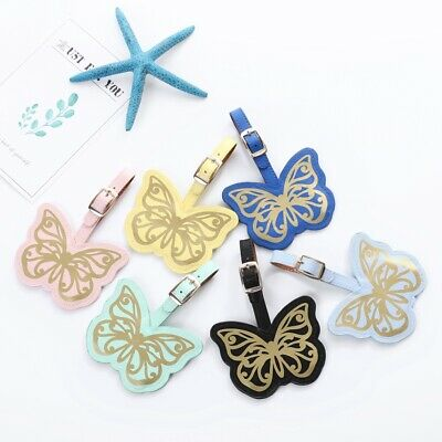 Fashion beautiful bronzing butterfly Luggage Tag Leather Travel Accessories
