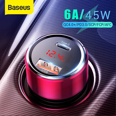 Baseus 45W Dual USB PD Car Charger USB C PD3.0 PPS Quick Charge LED Voltmeter