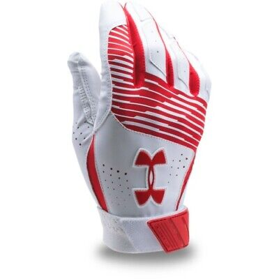Under Armour Clean Up Batting Gloves Pair 1299530 - White/Red - X-Large