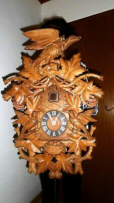 xl vintage cuckoo clock,orig germay regula 8 day clock hand carved . 70 cm top