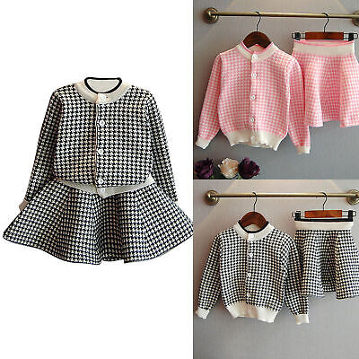 Kids Baby Girls Outfit Clothes Plaid Knitted Sweater Coat Tops+Skirt Set 2-7T UK