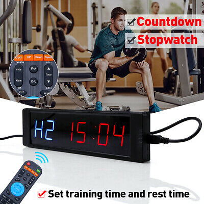 Gym Sport Crossfit Interval Timer Wall Clock w/Remote For MMA Tabata Fitness