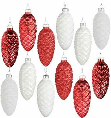 Pack of 2 Hand Painted Glass Pine Cone Christmas Ornament White Pinecone Bauble