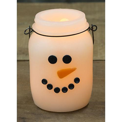 New Primitive Country Christmas SNOWMAN FACE CANDLE JAR Battery Light Timer