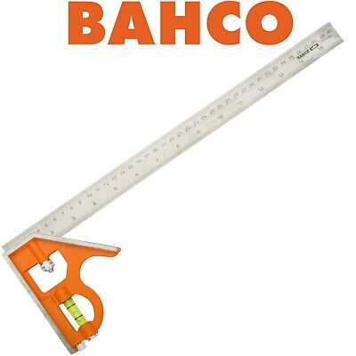 BAHCO 300mm COMBINATION SET SQUARE WITH SPIRIT LEVEL STAINLESS STEEL RULER CS300