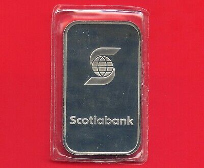 Vintage Scotiabank 1 Ounce Silver Bar .999 Fine Sealed In Plastic Sleeve