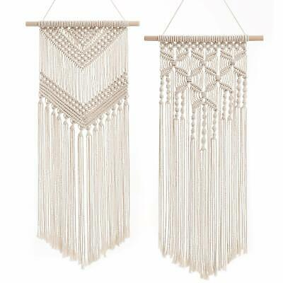Vintage Style Macrame Wall Hanging Wooden Beads Large Bohemian Decor