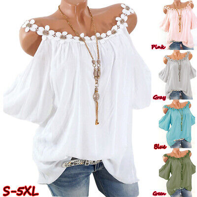 Plus Size Womens Lace Strappy Blouse Ladies Cold Shoulder Casual T-Shirt Tops