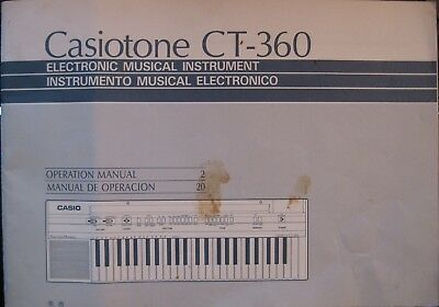 Casio CT-360 Casiotone Original Tastatur User's Betriebssystem Owner's Manual