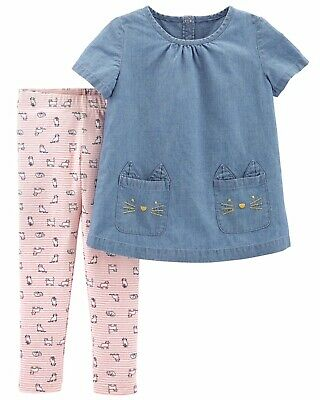 c20b58db9593 Carters Toddler Girl 2-Piece Chambray Top Cat Legging Set 2pc Outfit  Kittens 3T