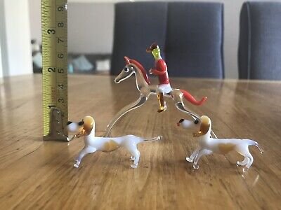 Vintage Murano Style Hand Blown Glass Horse Rider And Dogs Set Ornament