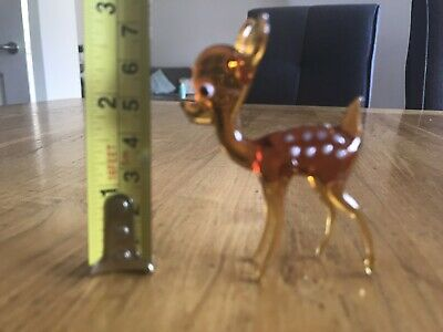 Vintage Murano Style Hand Blown Glass Deer Bambi Ornament