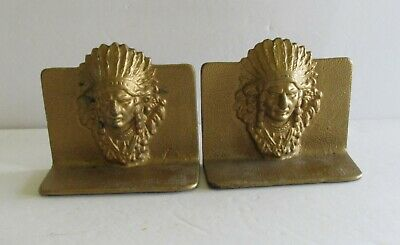 2 Vintage Cast Iron Indian Chief W/Headdress  Book Ends Bookends Golf Tone