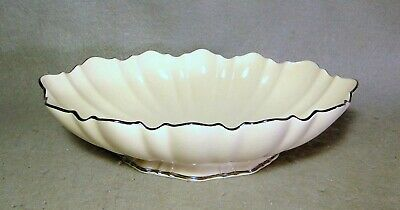 "Lenox Symphony 11"" Footed Ivory Centerpiece Bowl Swirl Scalloped Platinum Trim"