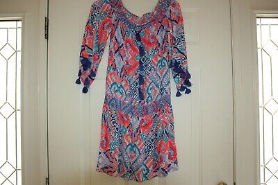 f971d883ee8cbc Lilly Pulitzer Joelle Dress Solar Opposite Strapless Off Shoulder Tassels  Small