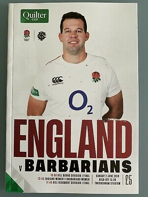 NEW Quilter Cup ENGLAND v BARBARIANS Rugby Union Programme £5 02/06/2019