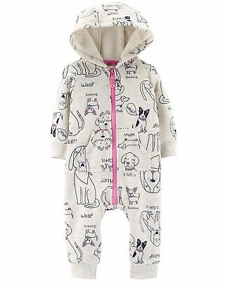 88014952a Carters Baby Girl One Piece Dogs Hooded Fleece Zip-Up Jumpsuit Puppies 18  Months