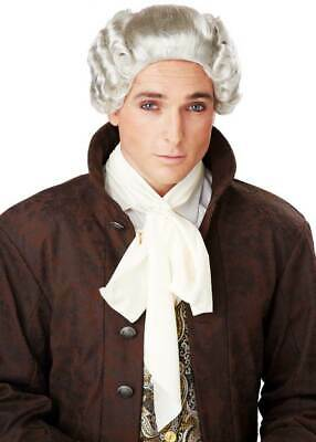 18th Century Colonial Gentleman's Powdered Curly Wig With Ribbon Tie Mens 70700