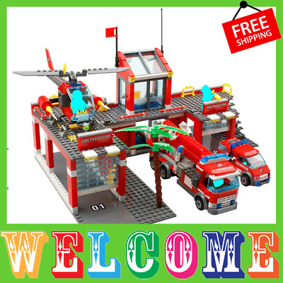 City Fire Station Truck Helicopter Firefighter Building Lego Compatible 774 pcs