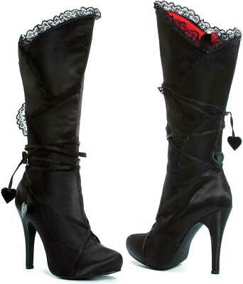 Sexy Victorian Lace Trim Knee High Lace Hearts High Heel Boots Shoes Adult Women