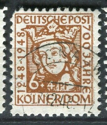 GERMANY; ALLIED OCC. British & US Zone 1948 Cologne Cathedral used 6pf.