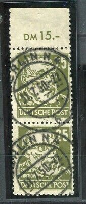 GERMANY; ALLIED OCC. Russian Zone 1948 Portraits issue used 25pf. Postmark pair