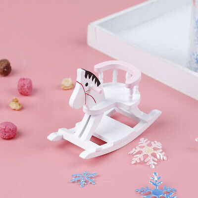 1:12 Dollhouse Miniature White Wooden Rocking Horse Chair Furniture Toys