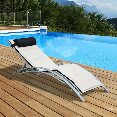 Sun Lounger Pool Garden Outdoor Adjustable Recliner Reclining Chair With Cushion