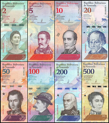 VENEZUELA  2018 FULL SET  2-5-10-20-50-100-200-500 bolivares   UNC  ( 8 pieces )
