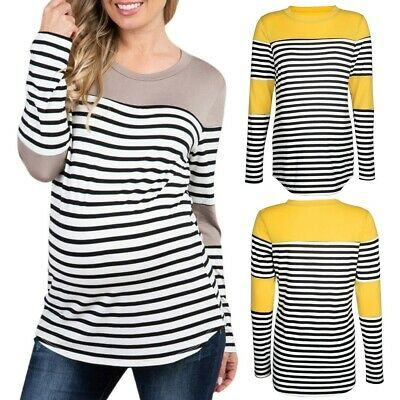 Women's Pregnancy Long Sleeve Splicing Stripe T-shirt Maternity Top Clothes