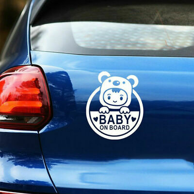Baby On Board Baby Children Window Bumper Car Sign Decal Sticker WHITE Removable
