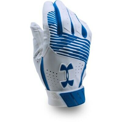 Under Armour Clean Up Batting Gloves Pair 1299530 - White/Royal - Large