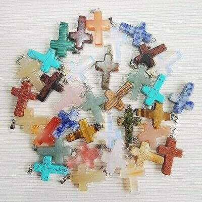 Wholesale 10pcs/lot Fashion Natural Cross Gemstone stone Silver Beads Pendant