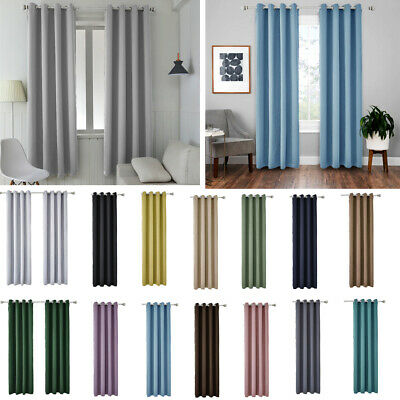2 Panels Thermal Blackout Eyelets Top Tape Ready Made Curtains Energy Saving