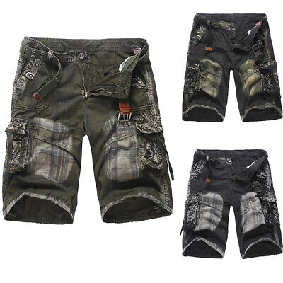 Fashion Mens Military Crosshatch Cargo Shorts Army Knee Length Pants Combat Camo