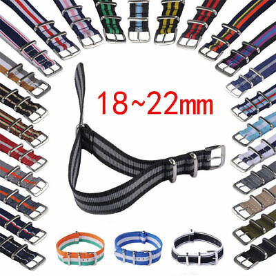 18-22mm Nylon Fabric Canvas Wrist Watch Band Strap Military Sport Classic Buckle