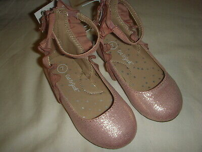 Cat & Jack Toddler Girls' Ankle Strap Metallic Pink Ballet Flats - Choose Size