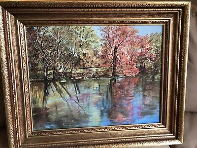 E BENNETT Oil Painting signed Edith Bennett Autumn 14 x 16 framed British artist