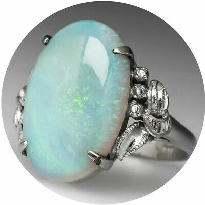 Butterfly Silver Ring Woman Man White Fire Opal Moon Stone Wedding Engagement