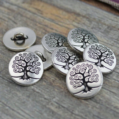 Antique Silver Tree of Life Metal Button Tierracast Qty 4 to 20 Yoga Wrap Clasp