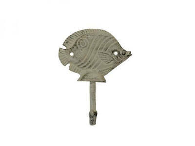 """Aged White Cast Iron Butterfly Fish Wall Hook 6"""" - Metal Hook - Beach Living"""