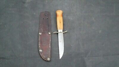 GC & Co Mora 500 Sweden FIXED BLADE KNIFE with Original Leather Sheath Vintage