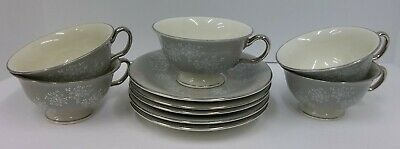 5 Vintage Castleton China Dinnerware Gray Pink Lace Cup & Saucer Sets