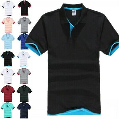 Mens Classic Short Sleeve Polo Shirt T-Shirt Plain Lapel Shirts Tops Summer NEW