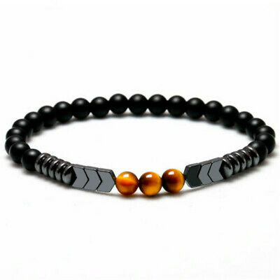 Natural Matte Onyx Bead Hematite Arrow Tiger Eye Stone Energy Bracelet Men Bead