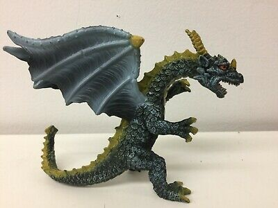 Toy Major Rubber Dragon Metallic Blue Gold Standing Figure 2007 Medieval Monster Toys & Hobbies Action Figures